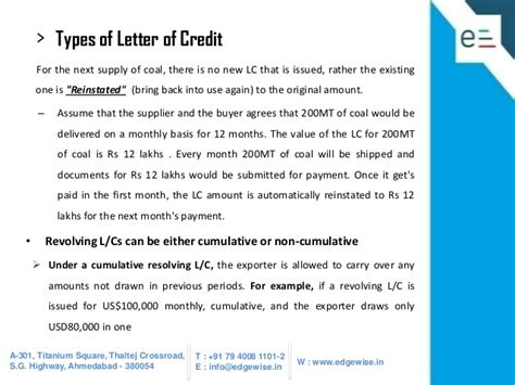 Letter Of Credit And Types Letter Of Credit Lc Presentation