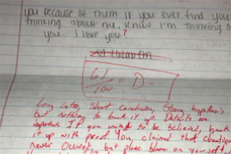 Apology Letter Joke student grades his ex s apology note as a joke
