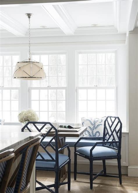 Window Seat Dining Table Dining Room With White Bamboo Dining Chairs Contemporary Dining Room