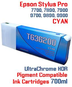 Tinta Pigment Ultrachrome Epson 7700 9700 9900 7900 7600 9600 100 Ml t636200 cyan stylus pro printer compatible pigment ink cartridges 700ml