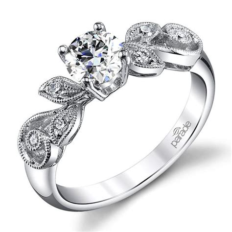 meandering vine engagement ring in white gold by