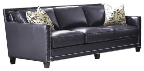 transitional leather sofa steve silver hendrix sofa w 2 accent pillows in navy blue