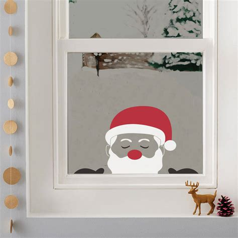 peeping santa window sticker by nutmeg