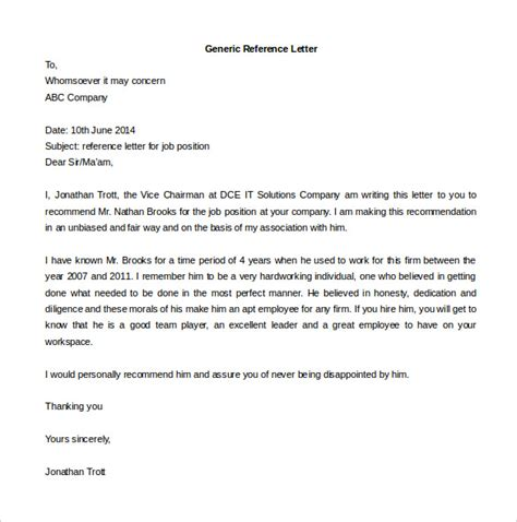 generic letter of recommendation template free reference letter templates 32 free word pdf
