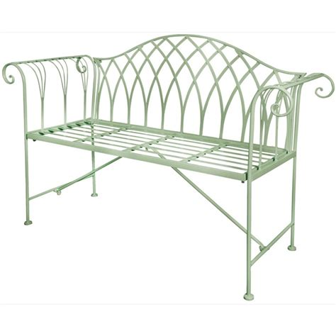 green metal bench scrolled metal garden bench green the garden factory