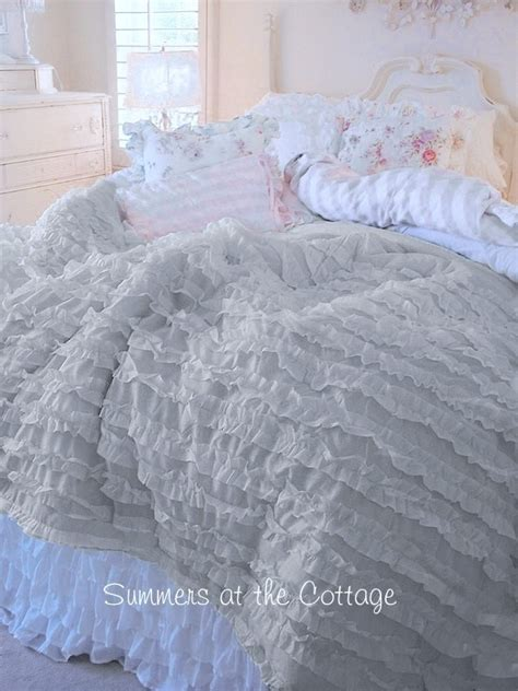 gray ruffle bedding shabby light grey cottage chic gray ruffles comforter set