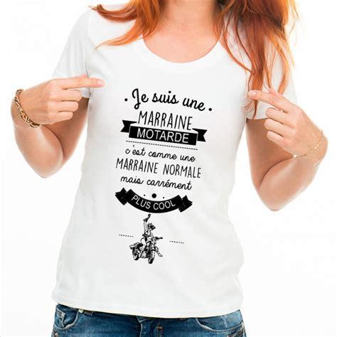 Tshirt Jesuis Une t shirt femme blanc je suis une marraine motarde