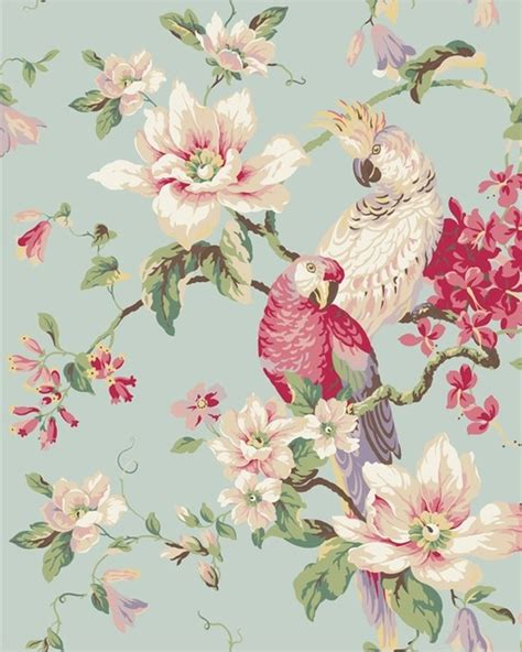 Bathroom Decorating Ideas For Small Bathrooms tropical birds and magnolias wallpaper eclectic