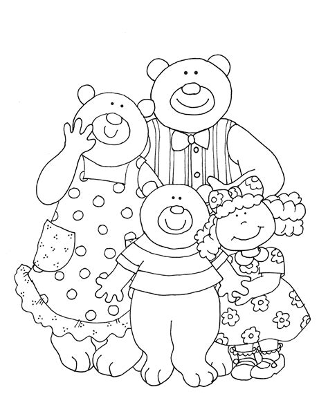 3 Bears Coloring Page by Goldilocks And The Three Bears Mask Templates Sketch