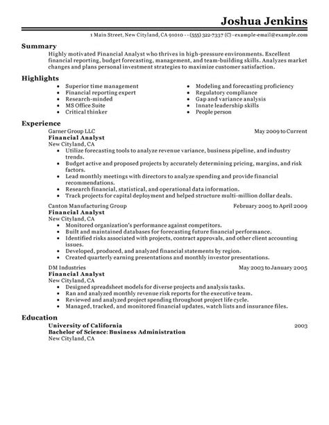 financial analyst resume sles sle resume entry level financial analyst sle business