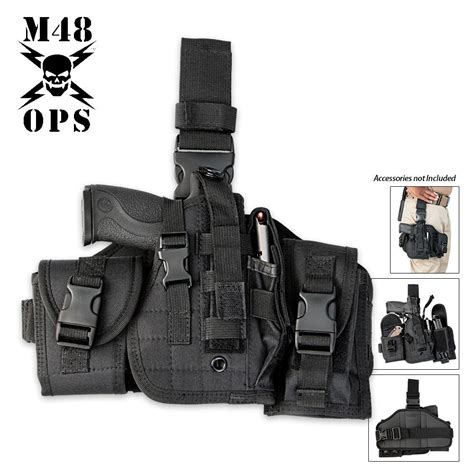 gun and knife holster m48 ops assembled drop leg gun holster black budk