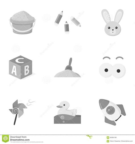 Monochrome Big toys set icons in monochrome style big collection of toys