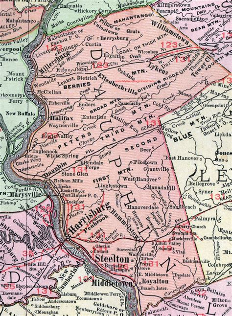 Dauphin County Records Dauphin County Pennsylvania 1911 Map By Rand Mcnally Harrisburg Pa