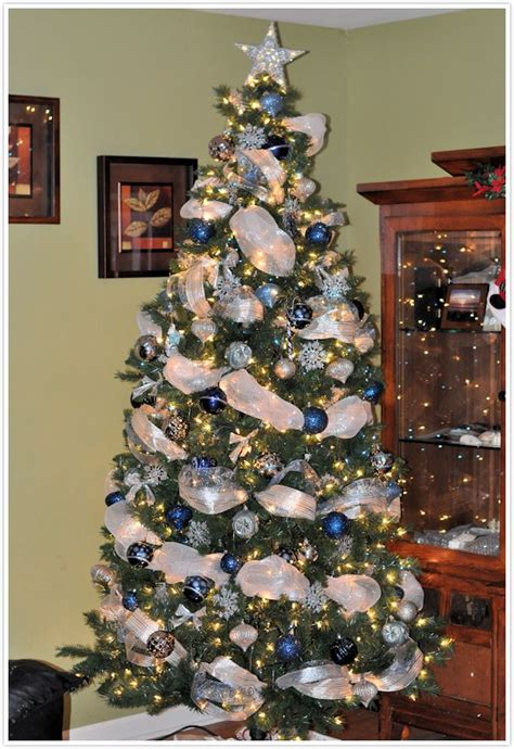 blue and silver decorated christmas trees 21 tree decorations