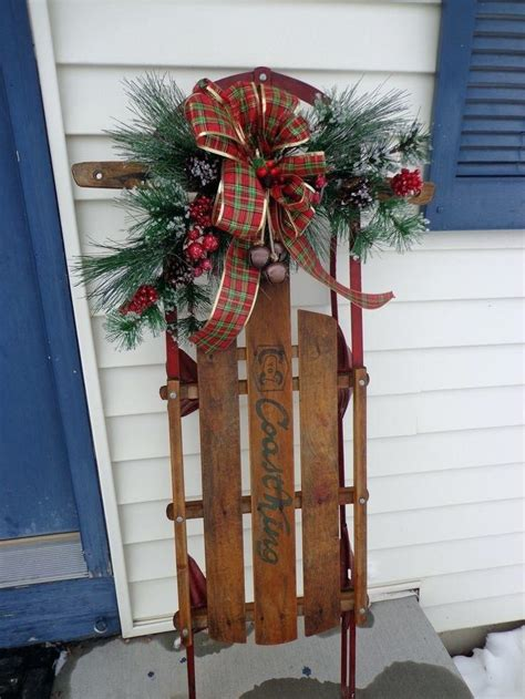 christmas sled decorations old wooden sled decor made with