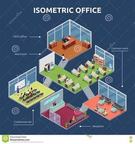 3 floor building plan isometric office 3 floor building plan stock vector