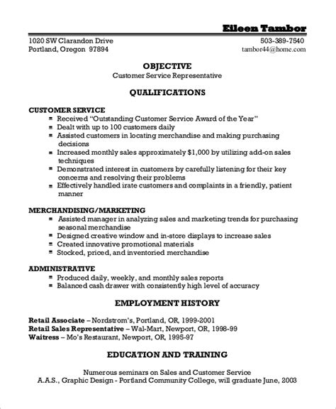 sle customer service resume 8 exles in word pdf