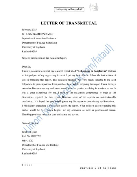 Transmittal Letter For Research Report Research Paper On E Shopping In Bangladesh
