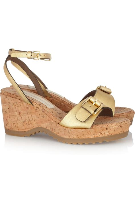 Stella Mccartney Sea Grass Wedges by Stella Mccartney Metallic Faux Leather And Cork Wedge