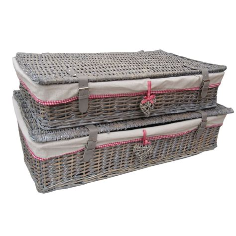 under bed storage baskets buy grey wash wicker underbed storage baskets from the