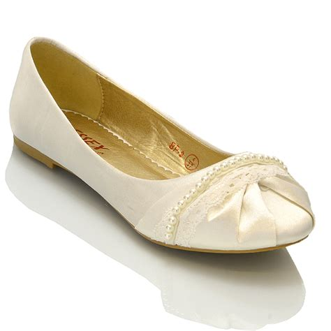Bridal Pumps by New Womens Lace Pearl Wedding Bridal Ivory White Ballerina