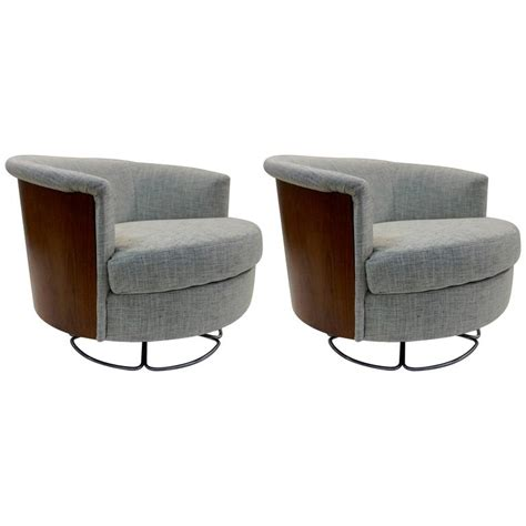 1960 pair of selig barrel back swivel chairs at 1stdibs