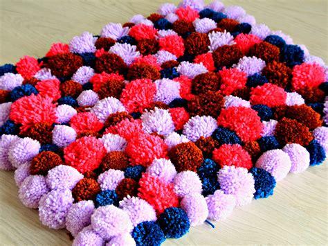 yarn pom pom rug pom pom rug family crafts