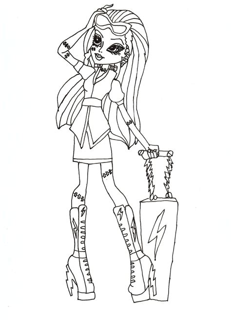 free printable monster high coloring pages frankie stein