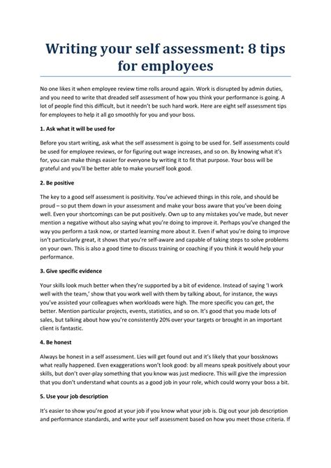 Self Writing Essay by Writing Your Self Assessment By Holymoleyjobs Uk Work And
