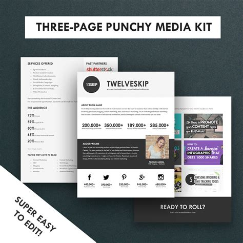 minimalist media kit template press kit 3 pages