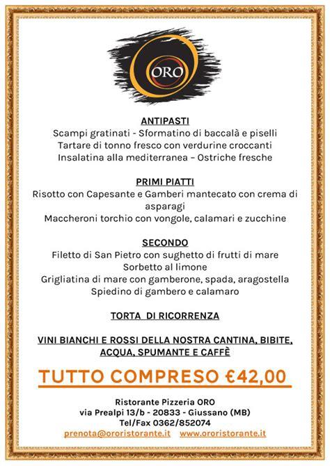 menu per banchetti oro ristorante giussano