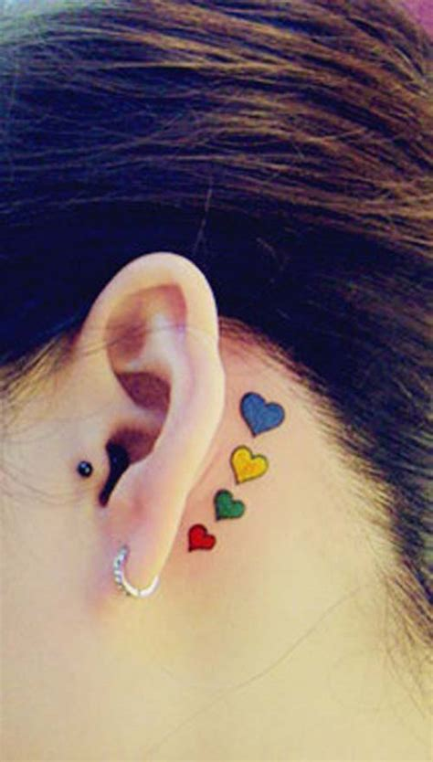 heart tattoo behind ear colored tattoos ear