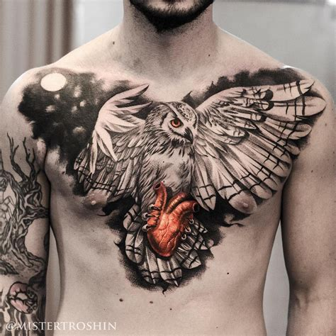 tattoo of chest owl holding heart chest tattoo best tattoo design ideas