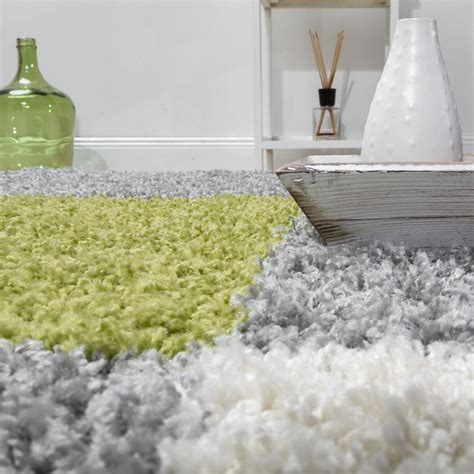 teppich grau gemustert teppich shaggy karo zottel gr 252 n grau creme hochflor teppiche