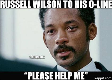 Russell Wilson Meme - russell wilson to his o line quot please help me quot