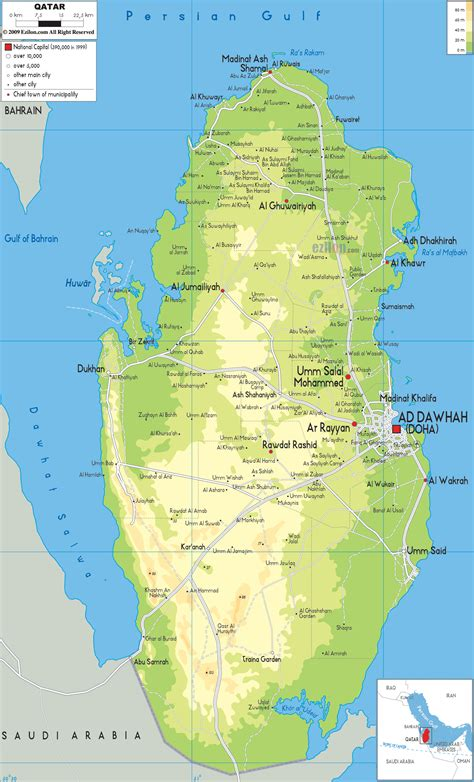 physical map of qatar physical map of qatar ezilon maps