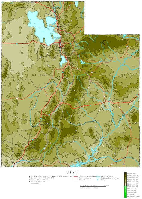 topographical map of utah utah contour map