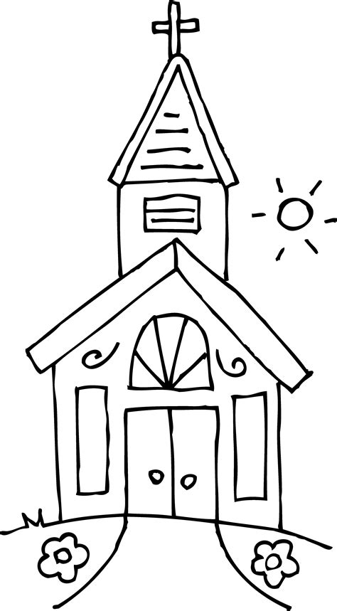 little church coloring page free clip art