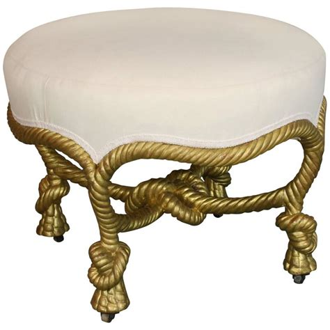 Rope Ottoman Giltwood Knotted Rope Style Ottoman For Sale At 1stdibs