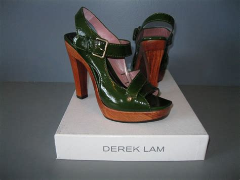 Derek Lam Wooden Platform Sandals by Authentic New Derek Lam 35 5 Green Patent Leather Platform