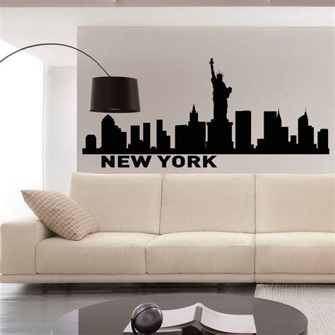 skyline wall stickers new york skyline wall decals vinyl stickers nyc skyline city