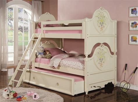Twin Over Twin Elegant Doll House Cream Bunk Bed With Trundle Doll House Bunk Beds