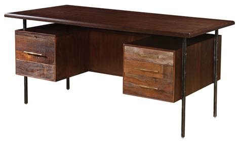 rustic wood desk reclaimed wood executive desk rustic desks and hutches new york by zin home