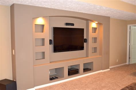 bloombety built in entertainment center with lcd tv built in drywalled entertainment center