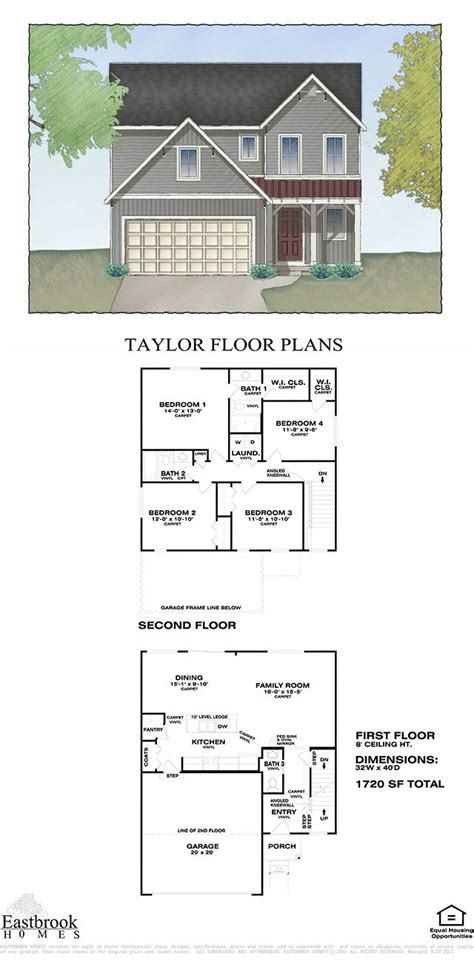 floor plan by eastbrook homes square footage 1720