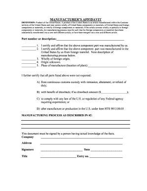 Fillable Online Manufacturer S Affidavit Fax Email Print Pdffiller Manufacturer S Affidavit Template Fillable