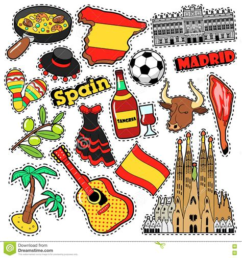 doodle espa ol spain travel scrapbook stickers patches badges for