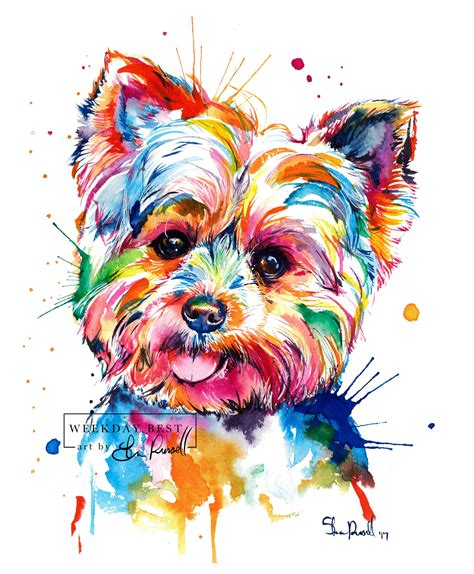 watercolor tattoo artists yorkshire colorful terrier print print of my yorkie