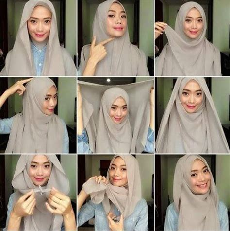 tutorial hijab pashmina satin yang simple model model memakai jilbab segi empat hairstyle gallery