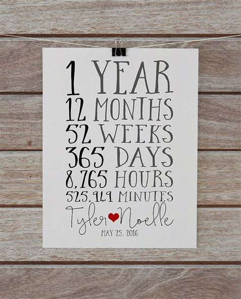 Wedding Gift One Year by Anniversary Together 1 Year Anniversary Gift For